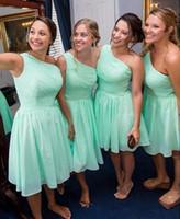 Chiffon verde menta abiti da sposa 2021 una spalla increspato pieghe del ginocchio Lunghezza Breve damigella d'onore abito da spiaggia un matrimonio di usura vestido