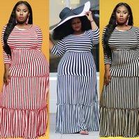 플러스 사이즈 4XL 화이트 블랙 스트라이프 드레스 여성 여름 긴 Maxi Boho Ruffles 드레스 캐주얼 긴 소매 빈티지 Vestidos 가을