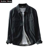 Brother Wang бренд весна Новый мужской случайные черные джинсовые рубашки 100 хлопок мода тонкий рукав рубашки мужская одежда мужская одежда Y200408