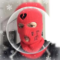 Maschera da sci personalizzata Maschera 3 fori Balaclava Ricamo personalizzato Ricamo caldo Cappelli invernali per gli uomini Donne termiche a maglia neo cappello di Halloween Party