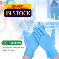 США на акции DHL синий нитрил одноразовые перчатки без порошок (не латекс) - пакет из 100 шт. Перчатки против забитых антибакислотных перчаток FY4036