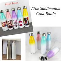 17oz Сублимация Cola Bottle с Gradient Color 500 мл из нержавеющей стали Cola Бутылки для воды двойных стенок термосы YYA508 SEA SHIPPING