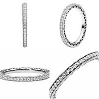 Real 925 Sterling Silver CZ Diamond Anillo en forma Pandora Anillos de boda Joyería de compromiso para mujeres 59 m2