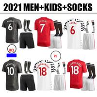 2020 2021 Nova Jerseys de futebol Cavani Fernandes United Rashford Utd Camisa de Futebol 20 21 Quarto Homem + Kit Kit Socks