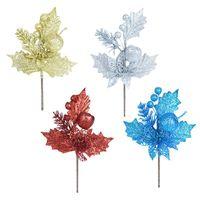 Dekoratif Çiçekler Çelenk Simülasyon Glitter Noel Ağacı Şube Altın Kırmızı Yapay Meyve Yaprakları Süsler Düğün Dekorasyon Aksesuarları