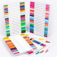 Подарочные наборы Высокое Качество 24/36/48/60/80/100 Цвет Двойной головы Водонаправленная ручка Pen Fine Liner Art Maker Набор для школы Essentials1