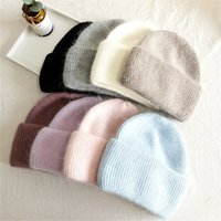 2021 Knitted cap Warm pure color light board autumn and winter versatile candy color vertical stripe knit hat female