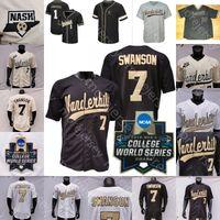 Personalizado Vanderbilt Commodores Jersey NCAA Jersey College Baseball 2019 WS Jack Leiter JJ Bleday Cooper Davis Martin Dansby Swanson Corbin Cj Rodriguez