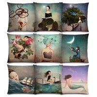 Elegante Dame Schöne Mädchen Shakespeare Fantasy Malerei Mond Nacht Schwan Dream Bäume Klassische Kissenbezug Sofa Dekokissen Fall