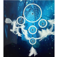 White Dreamcatcher 5 Circles Feather Wall Hanging Decoration...