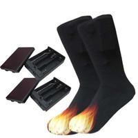 جوارب كهربائية ساخنة تنفس الرياضة الجوارب القطنية النساء الرجال البطارية التدفئة خرطوم رشاقته الملحقات دفئا