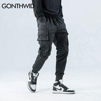 Gonthwid lado zíper bolsos cargo harem corredores calças homens hip hop casual harajuku streetwear calças calças macho calças 201114