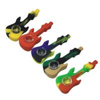 Образец Силикон кальян Кальян Бонг 4.33 дюйма гитары Портативный табачного дыма трубы со стеклом Чаша Ложка Pipe MOQ 1 шт