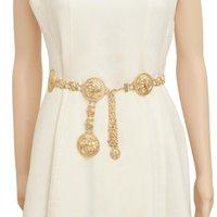 여성을위한 새로운 패션 명품 디자이너 브랜드 체인 벨트 황금 동전 돌고래 금속 허리 벨트 여성 의류 액세서리 (106)