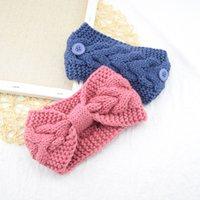 Knotted Женщины оголовье кнопка Шерсть Вязаного Hairband Упругая широкая голова Wrap зима уха Теплее Девочка Аксессуары для волос 13 цветов GGB2440