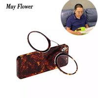 Occhiali da sole May Flower mini naso clip da lettura occhiali da lettura portafoglio portatile da prescrizione di occhiali da vista senzaburburni Pince-nez con custodia + 1