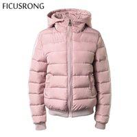 FICUSRONG Мода осень зима с капюшоном Короткие пальто куртки с длинным рукавом Теплый Zipper вниз ветровки Женский 201014
