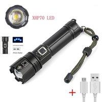 Lanternas tochas alta potente 5000 lúmen USB recarregável zoom led xhp70 lâmpada tática1
