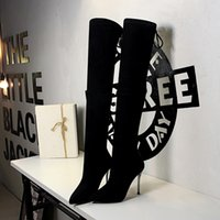 New sexy Begum crystal collar Over the knee Boots Women Black suede Leather Cup High heel Thigh high boots party shoes woman