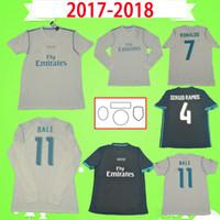패치와 함께 2017 2018 레트로 레알 마드리드 축구 유니폼 17 18 베일 벤제 메드 릭 크로스 축구 셔츠 빈티지 ISCO Sergio Ramos Ronaldo