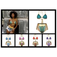 Sexy Südafrikaner Goldener Halfter Bikini Hohe Taille Badeanzug Zwei Stücke Badebekleidung Frauen Badeanzug Bather Maillot de Bain Freies Verschiffen