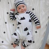 Novo estilo infantil conjunto de coagulação outono menino menino romper luva longa jumpsuit dos desenhos animados + chapéu 2 pcs recém-nascido criança bebê roupas y200803