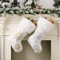 Regalos franela perla del copo de nieve de Navidad Medias caramelo bolsa de Navidad Calcetines árbol de Navidad fuera de la Florida Decoración JK2010XB