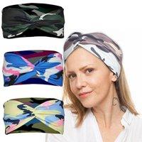 6-Farben-Frauen Yoga-Stirnband-Digital Camo Printed Fitness Gelegenheitsquerknoten Kopftuch im Freien Sport Haarreif