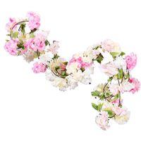 Flores decorativas grinaldas cor-de-rosa seda de seda cerejeira flor de flor de flores penduradas para casamento casa ao ar livre decorações artificiais vin