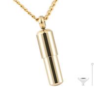 Collar de urna de cremación en forma de píldora delicada en forma de oro en acero inoxidable, pequeña cápsula de cilindros con cápsulas, collar de urna