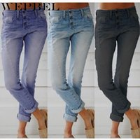 Wepbel Femme Mode Mid-Taille Slim Denim Pantalon à jambe droite Spring and Automne Loisirs Boutons de couleur Solide Jeans