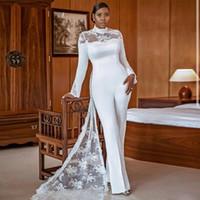 Rendas elegantes Jumpsuits vestidos de noiva com bainha de trem destacável mangas longas pescoço alto vestido nupcial cetim vestes de mariée