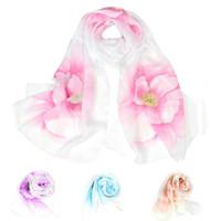 Шарфы шифоновые шарф женские хиджаб зимний цветок напечатаны осенью длинные шарфы пончо роскошные дамы шаль Sjaal Bohemian