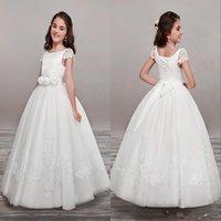 Novas linda flor meninas Vestidos para casamentos V Neck Tulle Andar de comprimento Backless vestido de baile júnior da dama de honra vestidos para meninas