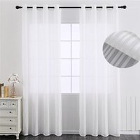 Streifen Weiß Sheer Vorhänge Garn Jinya Home Decoration Elegante einfarbige Fenster Türschirm für Wohnzimmer Schlafzimmer 1 Stück Panel1