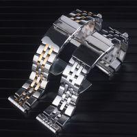 Hohe Qualität 20mm 22mm 24mm massiv Edelstahl-Uhrenarmband-FIT Breit ling Uhrenarmband Bands AVENGER NAVITIMER SUPEROCEAN Strap