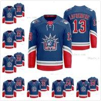 13 Alexis Lafreniere New York Rangers 2021 Classic Edition Libertad Royal Jersey Artemi Panarin Kaapo Kakko Pavel Buchnevich Mika Zibanejad