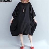 Dimanaf plus größe frauen kleid vintage langarm weibliche kleidung elegante dame vestidos lose große größe kleider 5xl 6xl schwarz 20201