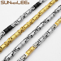 SUNNERLEES 316L Stainless Steel Necklace 6mm Geometric Byzantine Link Chain Silver Color Gold Plated Men Women Jewelry SC42 LJ201007
