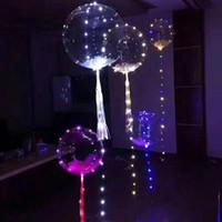 18-Zoll-leuchtende LED-Ballon Runde Blase Helium-Ballons Kinderspielzeug 3M LED-Luftballon-Zeichenfolge-Leuchten Hochzeits-Party-Dekoration KKE4018