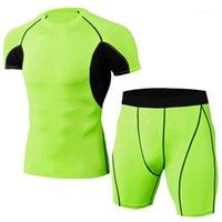 Vêtements de gym Vêtements de course pour Hommes Jobging Costumes Sport Sport Tracksuit Fitness Sports Joggers Set T-shirt Short Sportswear Men1