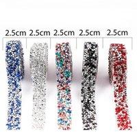 Résine Strass Target / Beaucoup de couleurs Nouveaux accessoires de rupture de hotfix strass Tape 2.5cm Largeur Banding Cristal Mariage D Jllost