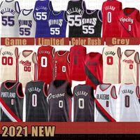 2021 novo jersey de basquete SacramentoKings.PortlandTrilhaBlazer Jason 55 Williams Damian 0 Lillard Mens CJ 3 McCollum Gold