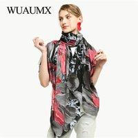Bufandas wuaumx primavera otoño bufanda para las mujeres lirio patrón moda señoras chal toalla de playa protección solar hijab snood
