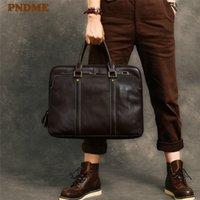 HBP PNDME Vintage Alta Qualidade Genuíno de Couro Masculino Pasta de Moda Negócio Real Caud Capacidade Laptop Tote Saco de Ombro Q0112