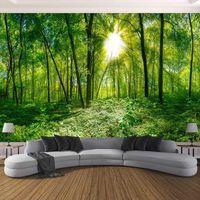 Sfondi Drop Custom personalizzato 3D PO wallpaper stereoscopico spazio verde foresta alberi natura paesaggio grande murale per1