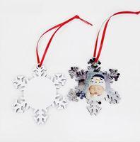 Sublimation bois flocon de neige Pendentif bricolage blanc bois Snowflakes Ornement plaine Pyrograph Double Sides Carte Emboutissage Party Favor cadeau LJJP631