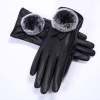 Fünf Fingerhandschuhe Mode Damen Touchscreen wasserdicht plus samt verdickte Rex Pelzkugel Lederhandschuhe1