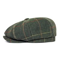 FEINION NEWSBY-Kappe für Männer Frauen 50% Wolle Tweed Flat Caps Heringbone Cabbies Fahrer Hut Grün Gelb 068 201204