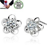 Stud omh Mode Bijoux de mode Cristal Cinq feuilles Fleurs 925 Boucles d'oreilles en argent sterling YS02